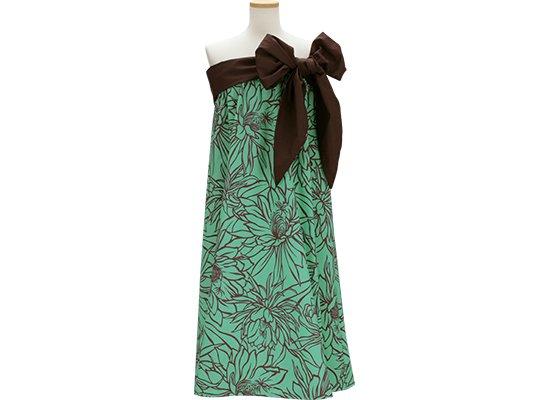 ヒスイ色のサッシュ付ドレス ナイトブルーミングセレウス柄 既製品 Mサイズ Lサイズ rmds-43003-2577JD