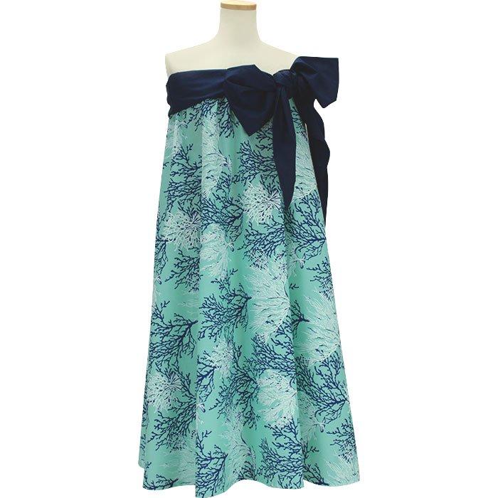 水色のサッシュ付ドレス コーラル柄 Mサイズ Lサイズ hlds-43003P-rm-2594AQ 【既製品】