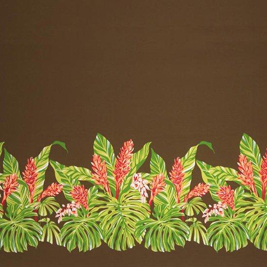 茶色のハワイアンファブリック モンステラ・ジンジャー柄 fab-2672BR 【4yまでメール便可】【NPS】