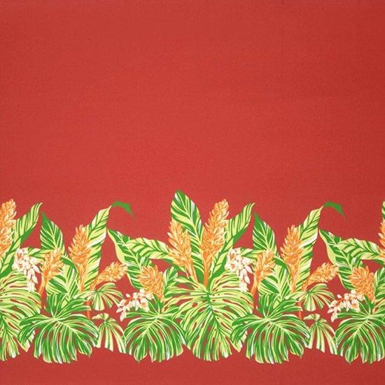 赤のハワイアンファブリック モンステラ・ジンジャー柄 fab-2672RD 【4yまでメール便可】【NPS】