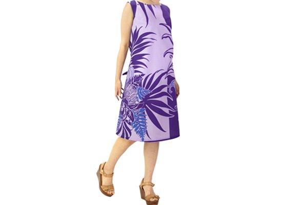 ノースリーブ リボン ワンピース 紫 レフア・オーキッド・リーフ柄 既製品 61023-2482PPPP
