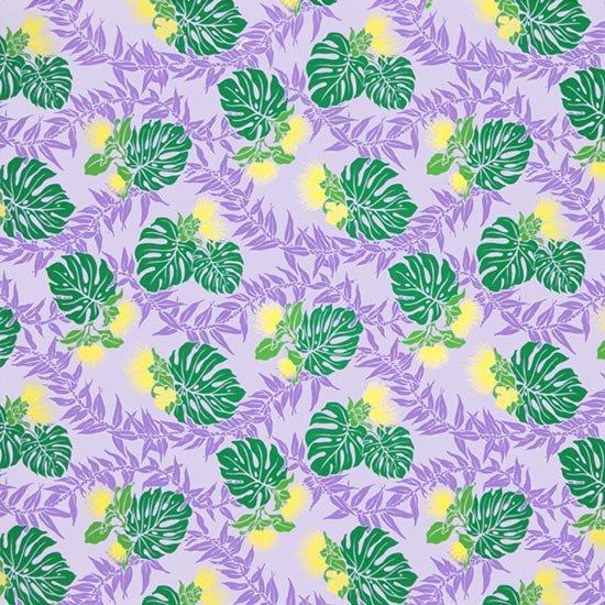 紫のハワイアンファブリック レフア・モンステラ・ティリーフ柄 fab-2674PP 【4yまでメール便可】【NPS】