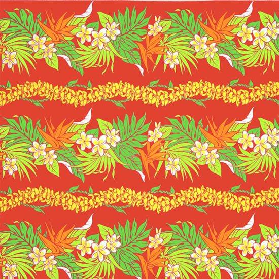 赤のハワイアンファブリック プルメリア・バードオブパラダイス柄 fab-2677RD 【4yまでメール便可】【NPS】