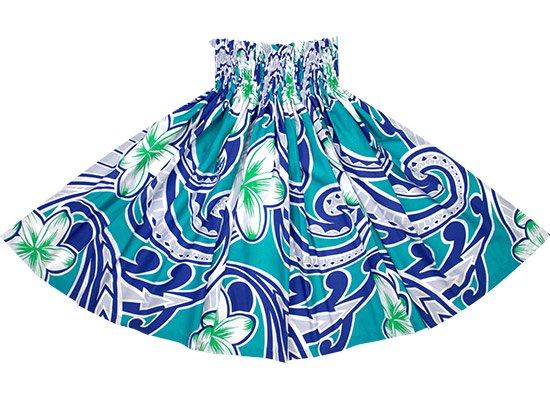 水色のパウスカート プルメリア・タパ柄 spau-2685AQ