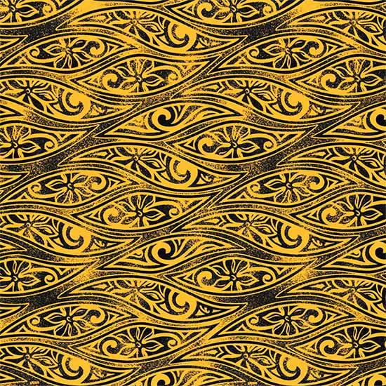 黄色のハワイアンファブリック ティアレ・タパ柄 fab-2687YW 【4yまでメール便可】