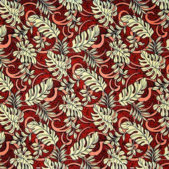 赤のハワイアンファブリック モンステラ・トロピカルリーフ柄 fab-2691RD 【4yまでメール便可】【NPS】