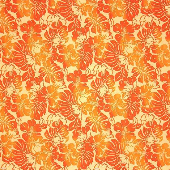 オレンジのハワイアンファブリック ハイビスカス・モンステラ柄 fab-2692OR 【4yまでメール便可】