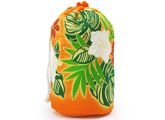 出し入れしやすい オレンジのイプケース イプバッグ スタンダードタイプ ハイビスカス・ヤシ・ボーダー柄 ipucase-rope-2496OR 【既製品】