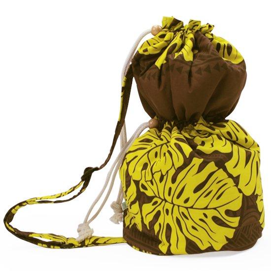出し入れしやすい 茶色のイプケース ショルダータイプ モンステラ・カヒコ・ボーダー柄 ipucase-sld-2394BR イプバッグ 【既製品】