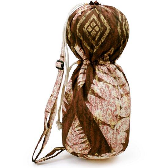 出し入れしやすい 茶色のイプヘケケース ロープタイプ リーフ・カヒコ柄 Mサイズ ipuhekecase-rope-2298BR-M イプヘケバッグ 【既製品】