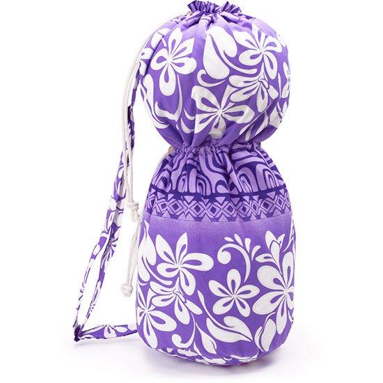 出し入れしやすい 紫のイプヘケケース ロープタイプ プルメリア・タパ・ボーダー柄 Mサイズ ipuhekecase-rope-2480PP-M イプバッグ 【既製品】