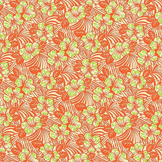 オレンジのハワイアンファブリック ハイビスカス柄 fab-2696OR 【4yまでメール便可】【NPS】