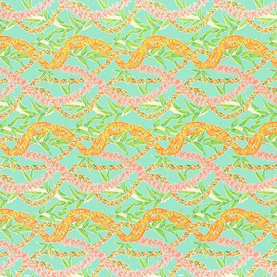 水色のハワイアンファブリック フラワーレイ・ボーダー柄 fab-2697AQ 【4yまでメール便可】