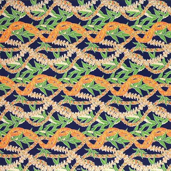 青のハワイアンファブリック フラワーレイ・ボーダー柄 fab-2697BL 【4yまでメール便可】【NPS】