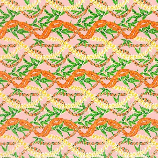 ピンクのハワイアンファブリック フラワーレイ・ボーダー柄 fab-2697Pi 【4yまでメール便可】【NPS】