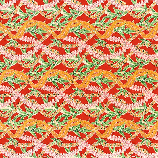 赤のハワイアンファブリック フラワーレイ・ボーダー柄 fab-2697RD 【4yまでメール便可】【NPS】