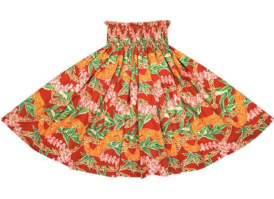 赤のパウスカート フラワーレイ・ボーダー柄 spau-rm-2697RD-75cm-4line 【既製品】