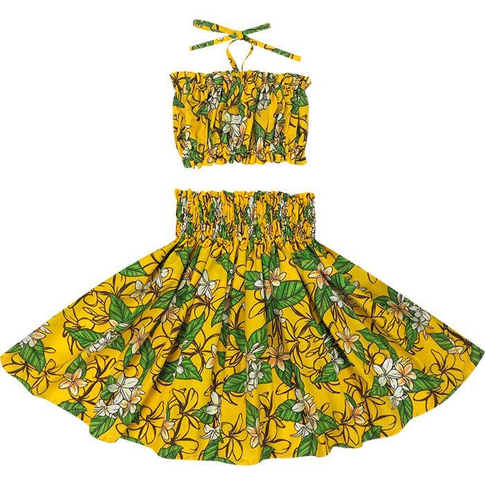 【ケイキ(子供)用】 黄色のパウ プルメリア柄 チューブトップセット hlds-kpsetN-2680YW 55cm 3本ゴム【既製品】
