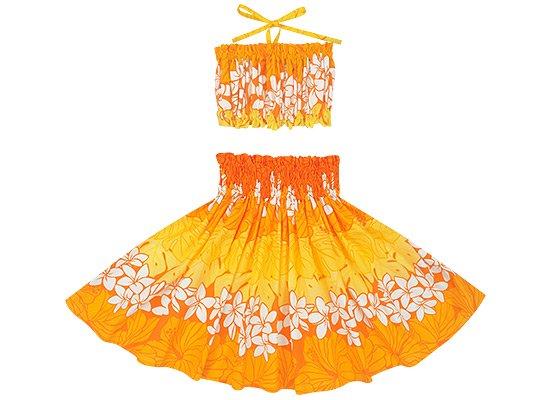 【ケイキ(子供)用】 オレンジのパウ プルメリア・ハイビスカス・モンステラ柄 チューブトップセット kpsetN-2676OR 55cm 3本ゴム【既製品】