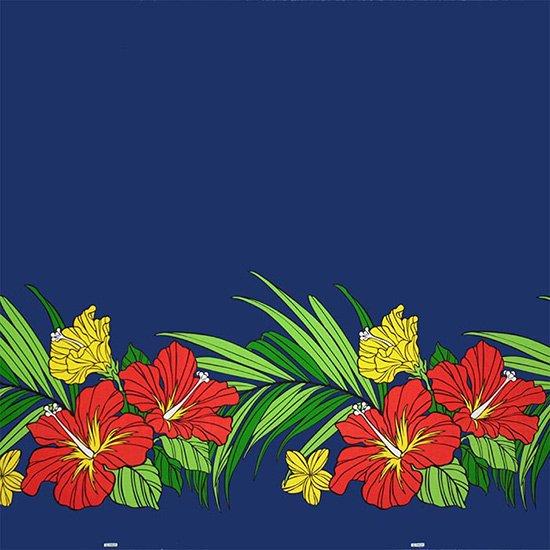 青のハワイアンファブリック ハイビスカス・ヤシ柄 fab-2698BL 【4yまでメール便可】【NPS】