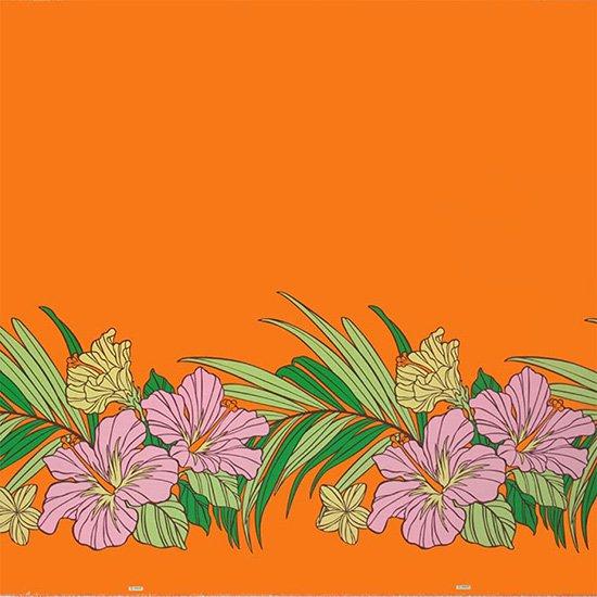 オレンジのハワイアンファブリック ハイビスカス・ヤシ柄 fab-2698OR 【4yまでメール便可】【NPS】
