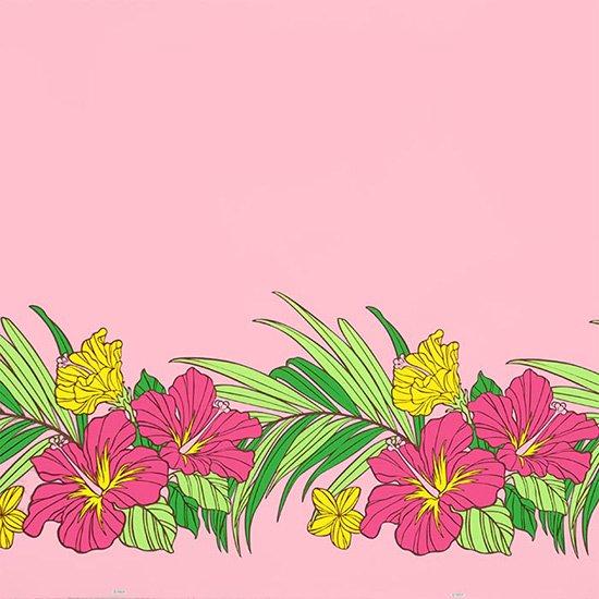 ピンクのハワイアンファブリック ハイビスカス・ヤシ柄 fab-2698Pi 【4yまでメール便可】【NPS】