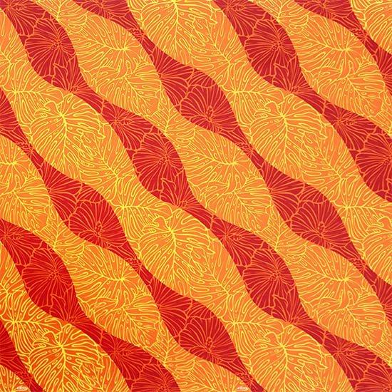 オレンジと赤のハワイアンファブリック ハイビスカス・モンステラ柄 fab-2699ORRD 【4yまでメール便可】【NPS】