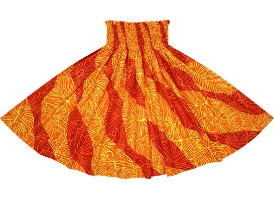 オレンジと赤のパウスカート ハイビスカス・モンステラ柄 spau-rm-2699ORRD-75cm-4line 【既製品】