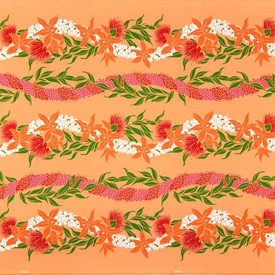 オレンジのハワイアンファブリック オーキッド・レフア・レイ・ボーダー柄 fab-2700OR 【4yまでメール便可】