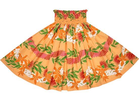 オレンジのパウスカート オーキッド・レフア・レイ・ボーダー柄 spau-rm-2700OR-75cm-4line 【既製品】