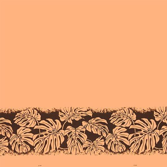 オレンジのハワイアンファブリック モンステラ柄 fab-2701OR 【4yまでメール便可】