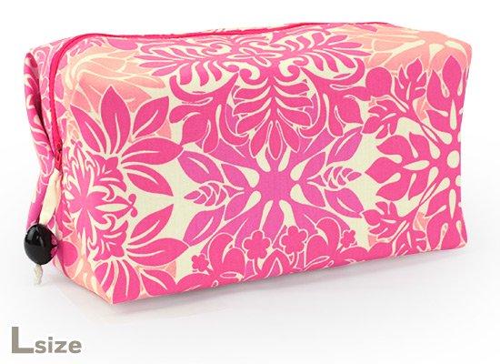 キャラメルポーチ ピンクのキルト総柄 Lサイズ caramelpouch-2616Pi-L【メール便可】