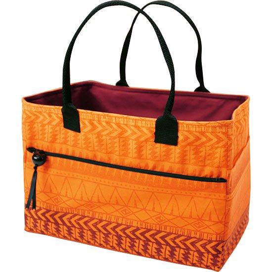オレンジと茶色のスクエア トートバッグ タパ・グラデーション柄 square-tote-2607ORBR