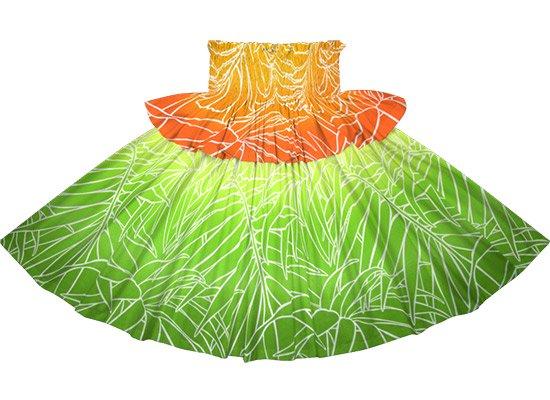 【フリルパウスカート】 きみどりのパウスカート ヤシ・グラデーション柄 fpau-2703LG 75cm 4本ゴム【既製品】