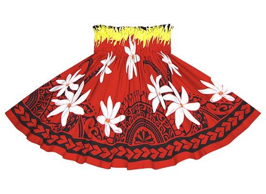 【ケイキ(子供)用】 赤のパウスカート ティアレ・カヒコ柄 kpau-2675 55cm 3本ゴム【既製品】