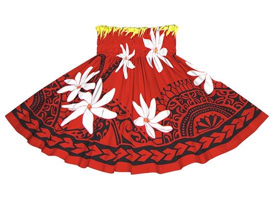 【ケイキ(子供)用】 赤のパウスカート ティアレ・カヒコ柄 kpau-2675 50cm 3本ゴム【既製品】