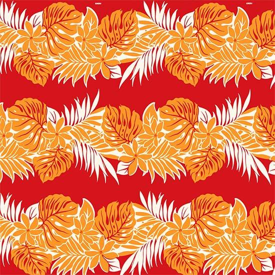 【カット生地】(3ヤード) 赤のハワイアンファブリック ティアレ・モンステラ・ヤシ柄 fab-3y-2455RD 【4yまでメール便可】