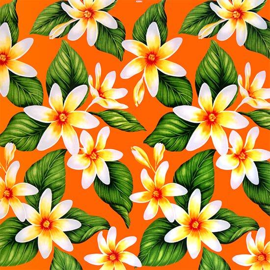 オレンジのハワイアンファブリック ティアレ柄 fab-2710OR 【4yまでメール便可】