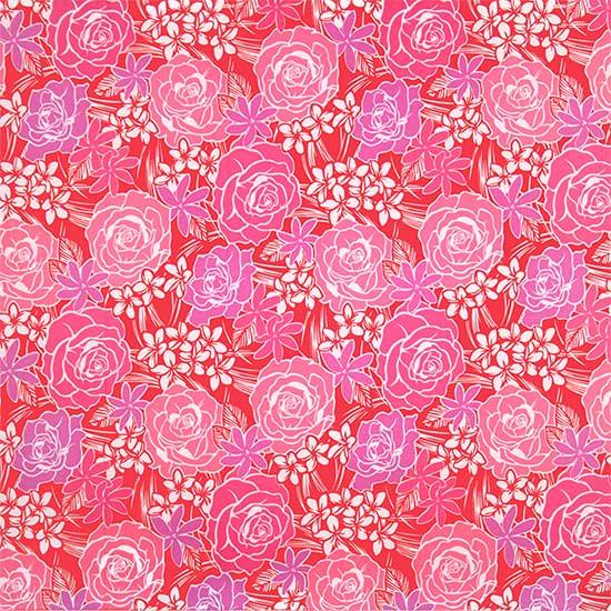 ピンクのハワイアンファブリック ローズ・プルメリア・ティアレ柄 fab-2711Pi 【4yまでメール便可】