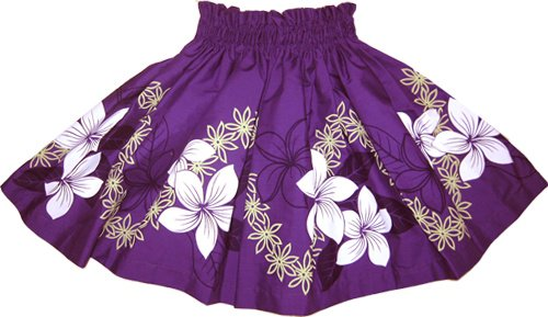 【ケイキ(子供)用】紫のパウスカート プルメリア・ティアレ柄 kpau-10-2.4y-40cm-2L