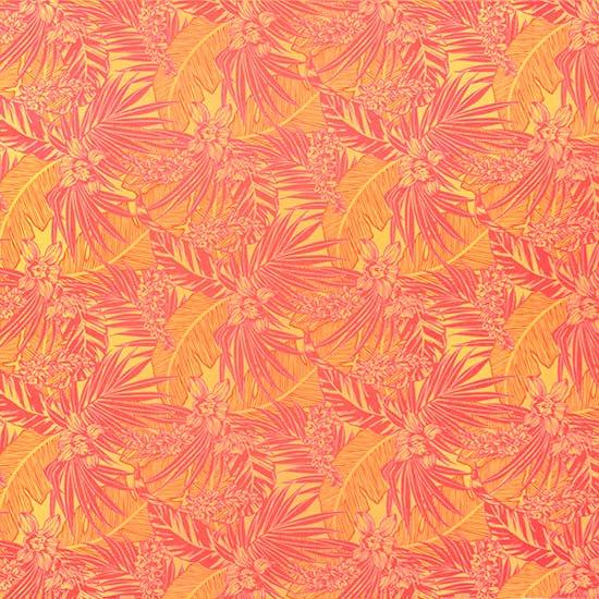 黄色とピンクのハワイアンファブリック オーキッド・ヤシ・バナナリーフ柄 fab-2715YW 【4yまでメール便可】
