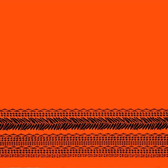 オレンジのハワイアンファブリック タパ・カヒコ・ボーダー柄 fab-2724OR 【4yまでメール便可】