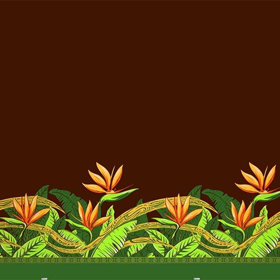 茶色のハワイアンファブリック バードオブパラダイス柄 fab-2726BR 【4yまでメール便可】