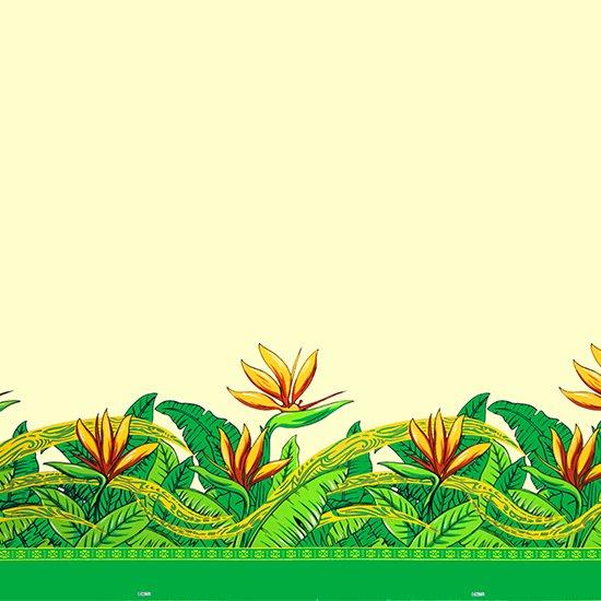 クリーム色のハワイアンファブリック バードオブパラダイス柄 fab-2726CR 【4yまでメール便可】