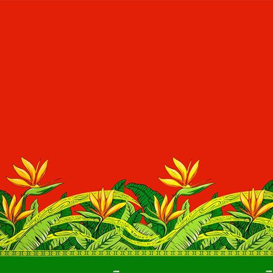 赤のハワイアンファブリック バードオブパラダイス柄 fab-2726RD 【4yまでメール便可】