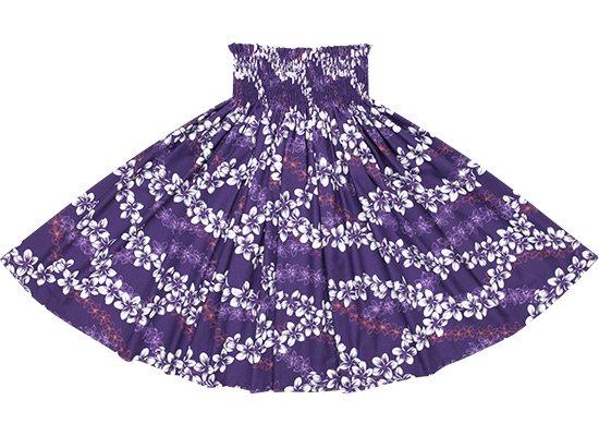 紫のパウスカート プルメリア・レイ柄 Sprm-2586PP 66cm 5本ゴム 【既製品】【NPS】【既製品】