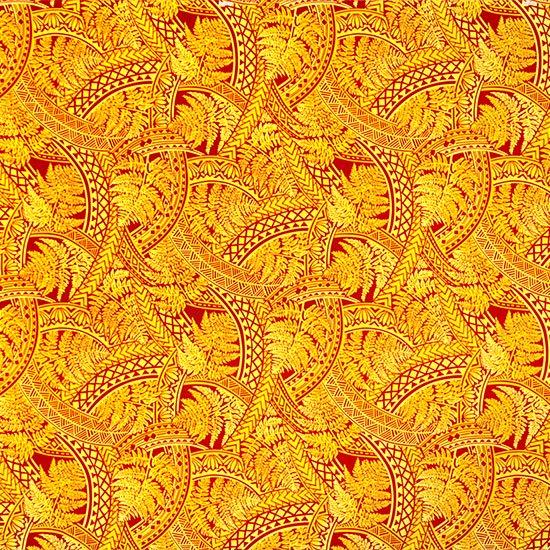 黄色のハワイアンファブリック シダ・トライバル柄 fab-2727YW 【4yまでメール便可】