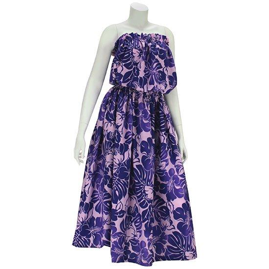 チューブトップ スカートセットアップ 紫 ハイビスカス・モンステラ柄 hlds-tubetop-set-rm-2692pp-75cm 【既製品】