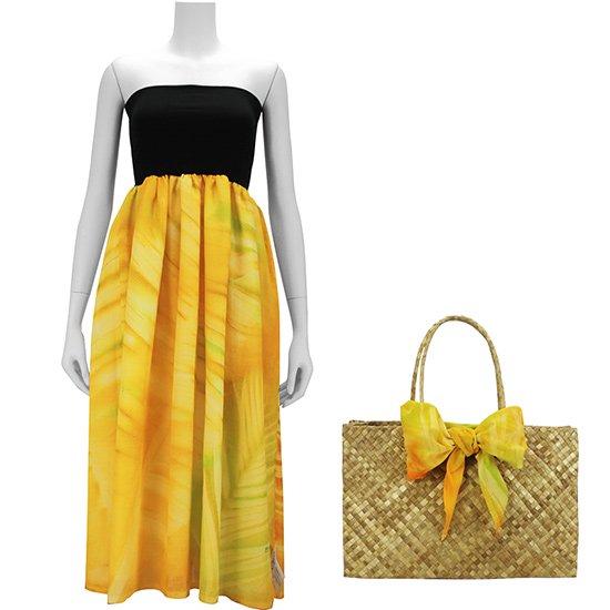 【BOZO】イエロー系の2wayチューブトップドレス ラウハラバッグ2点セット バナナリーフ・ヤシ柄 51009-bozo1904