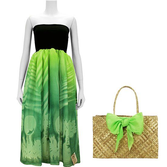 【BOZO】グリーン系の2wayチューブトップドレス ラウハラバッグ2点セット ヤシ・ウリウリ柄 51009-bozo1905